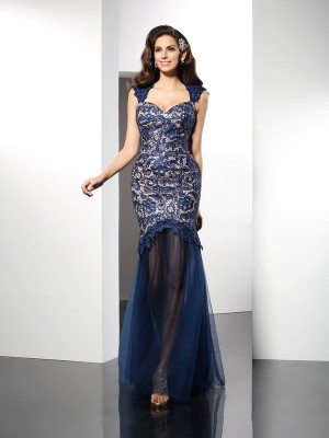 Trumpet/Mermaid Sweetheart Sleeveless Sweep/Brush Train Net Dresses with Lace