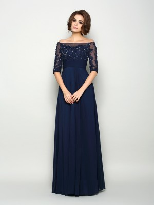 A-Line/Princess Off-the-Shoulder 1/2 Sleeves Floor-Length Chiffon Mother of the Bride Dresses with Beading