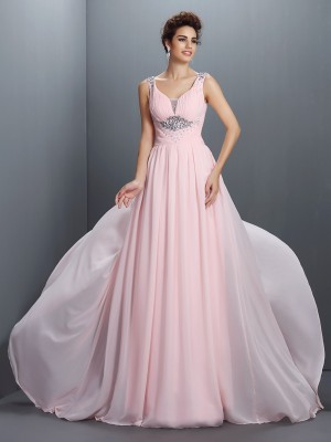 A-Line/Princess Straps Sleeveless Sweep/Brush Train Chiffon Dresses with Beading