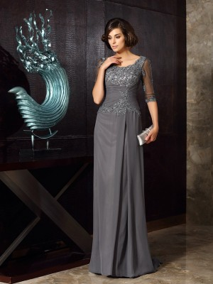 A-Line/Princess Scoop 1/2 Sleeves Floor-Length Chiffon Mother of the Bride Dresses with Beading Applique