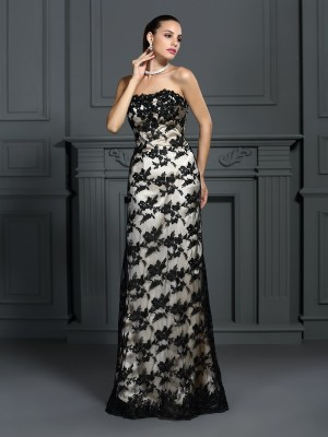 Sheath/Column Strapless Sleeveless Sweep/Brush Train Elastic Woven Satin Dresses with Lace