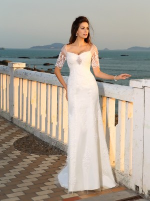 Sheath/Column Sweetheart Short Sleeves Floor-Length Satin Wedding Dresses with Applique