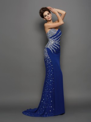 Trumpet/Mermaid Sweetheart Sleeveless Court Train Chiffon Dresses with Rhinestone