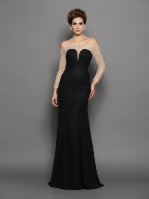 Trumpet/Mermaid Off-the-Shoulder Long Sleeves Sweep/Brush Train Chiffon Dresses with Beading