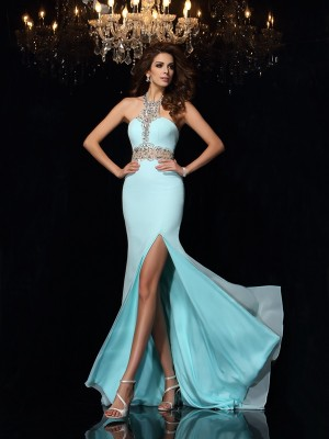 Sheath/Column High Neck Sleeveless Sweep/Brush Train Chiffon Dresses with Beading