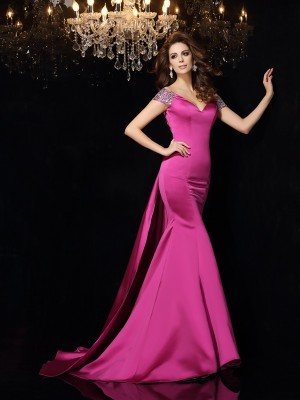 Trumpet/Mermaid Off-the-Shoulder Sleeveless Court Train Satin Dresses with Beading