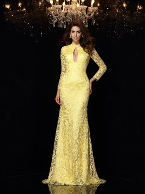 Sheath/Column High Neck Long Sleeves Sweep/Brush Train Satin Dresses with Lace