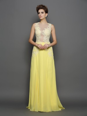 A-Line/Princess Scoop Sleeveless Sweep/Brush Train Chiffon Dresses with Lace