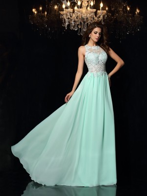 A-Line/Princess High Neck Sleeveless Sweep/Brush Train Chiffon Dresses with Applique