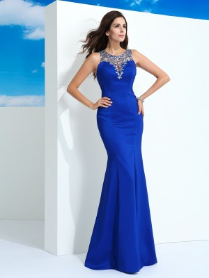 Sheath/Column Sheer Neck Sleeveless Floor-Length Chiffon Dresses with Beading