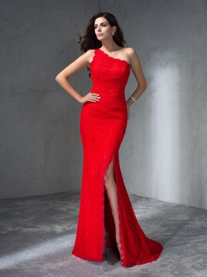 Trumpet/Mermaid One-Shoulder Sleeveless Sweep/Brush Train Lace Dresses