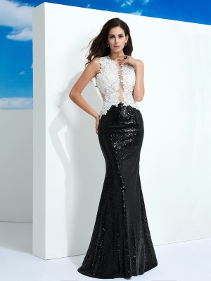 Sheath/Column Scoop Sleeveless Floor-Length Lace Dresses with Paillette