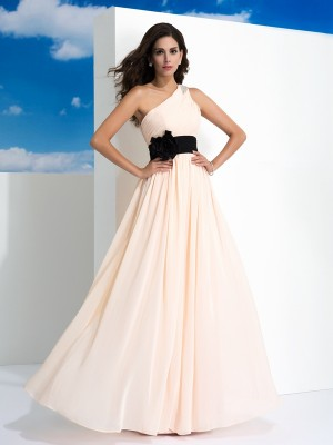 A-Line/Princess One-Shoulder Sleeveless Floor-Length Chiffon Dresses with Sash/Ribbon/Belt