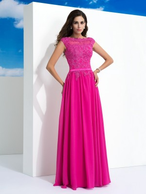 A-Line/Princess Sheer Neck Sleeveless Floor-Length Chiffon Dresses with Lace