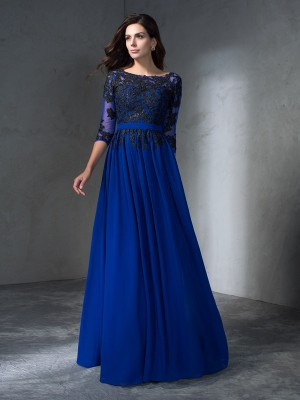 A-Line/Princess Scoop 3/4 Sleeves Floor-Length Chiffon Dresses with Applique