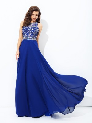 A-Line/Princess Scoop Sleeveless Floor-Length Chiffon Dresses with Beading