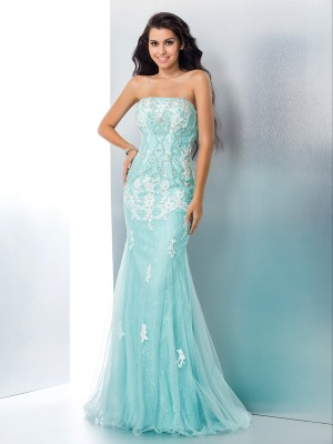 Trumpet/Mermaid Strapless Sleeveless Sweep/Brush Train Lace Dresses with Applique