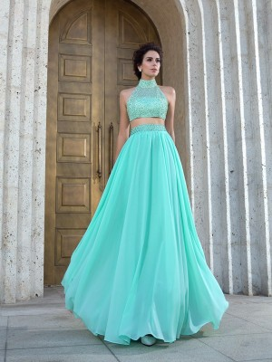 A-Line/Princess High Neck Sleeveless Floor-Length Chiffon Dresses with Beading