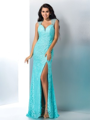 Trumpet/Mermaid Sweetheart Sleeveless Floor-Length Lace Dresses with Beading