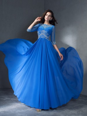 A-Line/Princess Scoop 1/2 Sleeves Sweep/Brush Train Chiffon Dresses with Beading