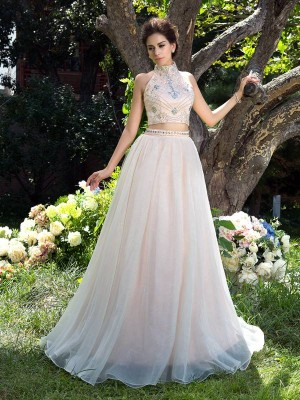 A-Line/Princess High Neck Sleeveless Sweep/Brush Train Net Dresses with Beading