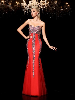 Sheath/Column Sweetheart Sleeveless Floor-Length Net Dresses with Rhinestone