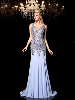 Sheath/Column Straps Sleeveless Sweep/Brush Train Chiffon Dresses with Rhinestone