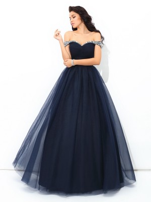 Ball Gown Off-the-Shoulder Sleeveless Floor-Length Net Dresses with Beading