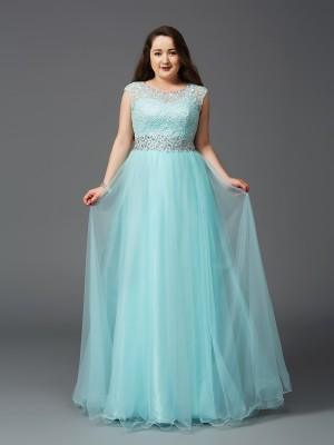 A-Line/Princess Scoop Sleeveless Floor-Length Elastic Woven Satin Dresses with Rhinestone