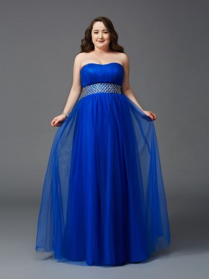 A-Line/Princess Strapless Sleeveless Floor-Length Net Dresses with Rhinestone