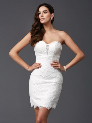 Sheath/Column Sweetheart Sleeveless Short/Mini Lace Dresses with Lace