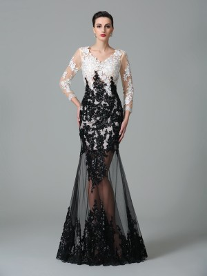 Sheath/Column V-neck 3/4 Sleeves Floor-Length Net Dresses with Lace
