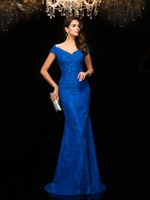 Trumpet/Mermaid V-neck Sleeveless Sweep/Brush Train Lace Dresses with Lace