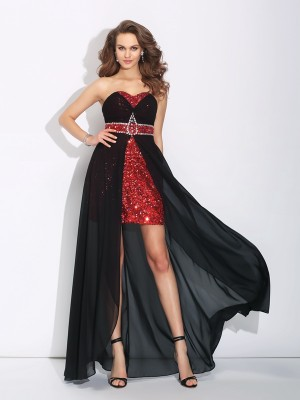 A-Line/Princess Sweetheart Sleeveless Asymmetrical Chiffon Dresses with Sequin