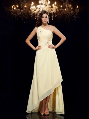 A-Line/Princess One-Shoulder Sleeveless Asymmetrical Chiffon Dresses with Beading