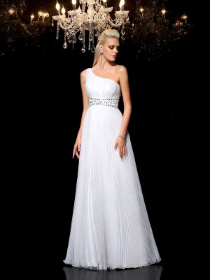 A-Line/Princess One-Shoulder Sleeveless Floor-Length Organza Dresses with Beading