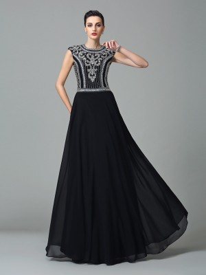 A-Line/Princess Jewel Short Sleeves Floor-Length Chiffon Dresses with Beading
