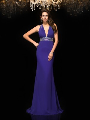 Trumpet/Mermaid V-neck Sleeveless Sweep/Brush Train Chiffon Dresses with Beading