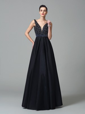 A-Line/Princess Straps Sleeveless Floor-Length Taffeta Dresses with Beading