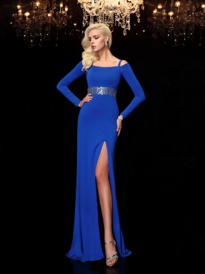 Sheath/Column Bateau Long Sleeves Sweep/Brush Train Spandex Dresses with Beading