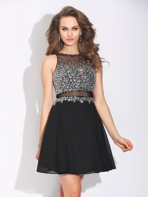 A-Line/Princess Jewel Sleeveless Short/Mini Chiffon Dresses with Beading