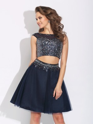 A-Line/Princess Bateau Sleeveless Short/Mini Net Dresses with Beading