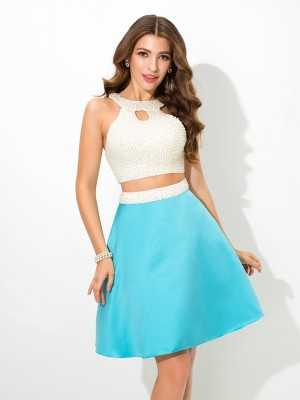 A-Line/Princess  Sleeveless Short/Mini Satin Dresses with Beading