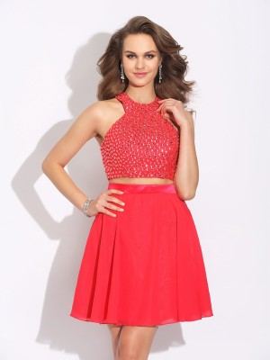 A-Line/Princess Jewel Sleeveless Short/Mini Chiffon Dresses with Crystal