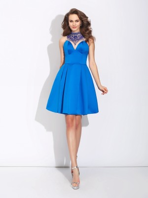 A-Line/Princess High Neck Sleeveless Short/Mini Satin Dresses with Beading
