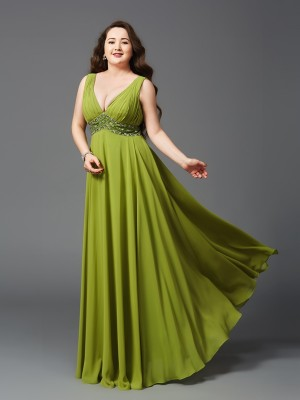 A-Line/Princess Straps Sleeveless Floor-Length Chiffon Dresses with Rhinestone