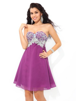 A-Line/Princess Sweetheart Sleeveless Short/Mini Chiffon Dresses with Rhinestone