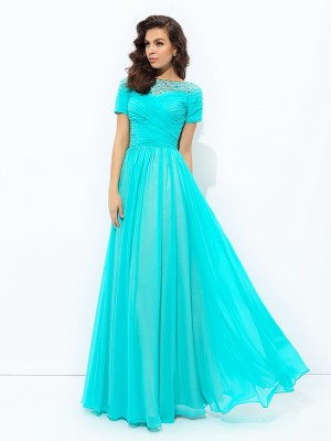 A-Line/Princess Bateau Short Sleeves Floor-Length Chiffon Dresses with Lace