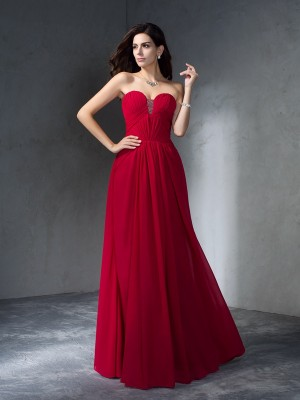 A-Line/Princess Sweetheart Sleeveless Floor-Length Chiffon Dresses with Pleats