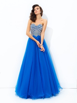 A-Line/Princess Sweetheart Sleeveless Floor-Length Net Dresses with Sequin